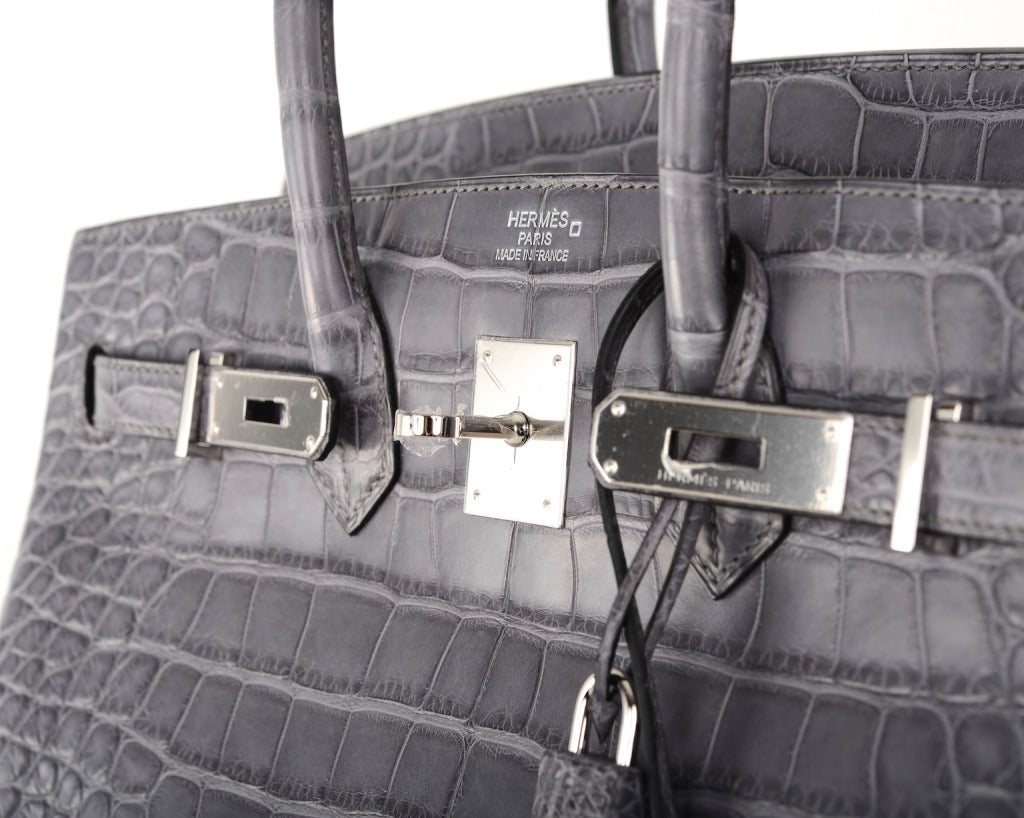 paris fakes hermes - HERMES BIRKIN BAG 35CM GRIS PARIS (GREY) MATTE CROC ALLIGATOR PH ...