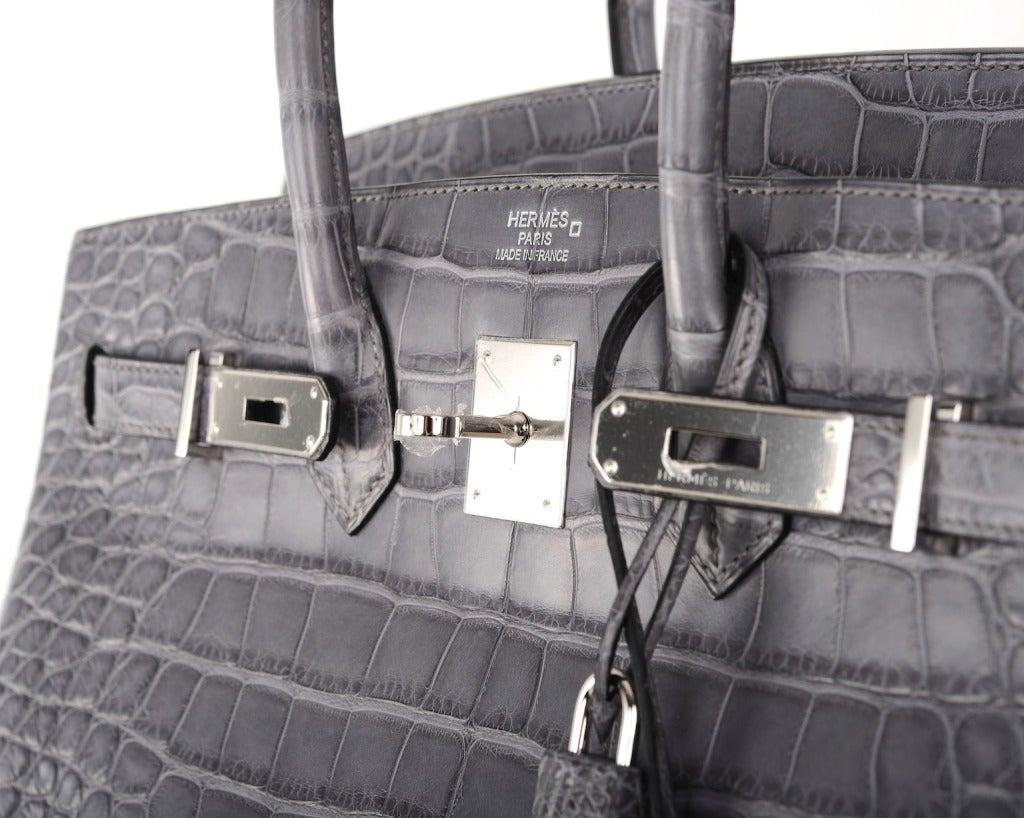 brighton snakeskin purse - HERMES BIRKIN BAG 35CM GRIS PARIS (GREY) MATTE CROC ALLIGATOR PH ...