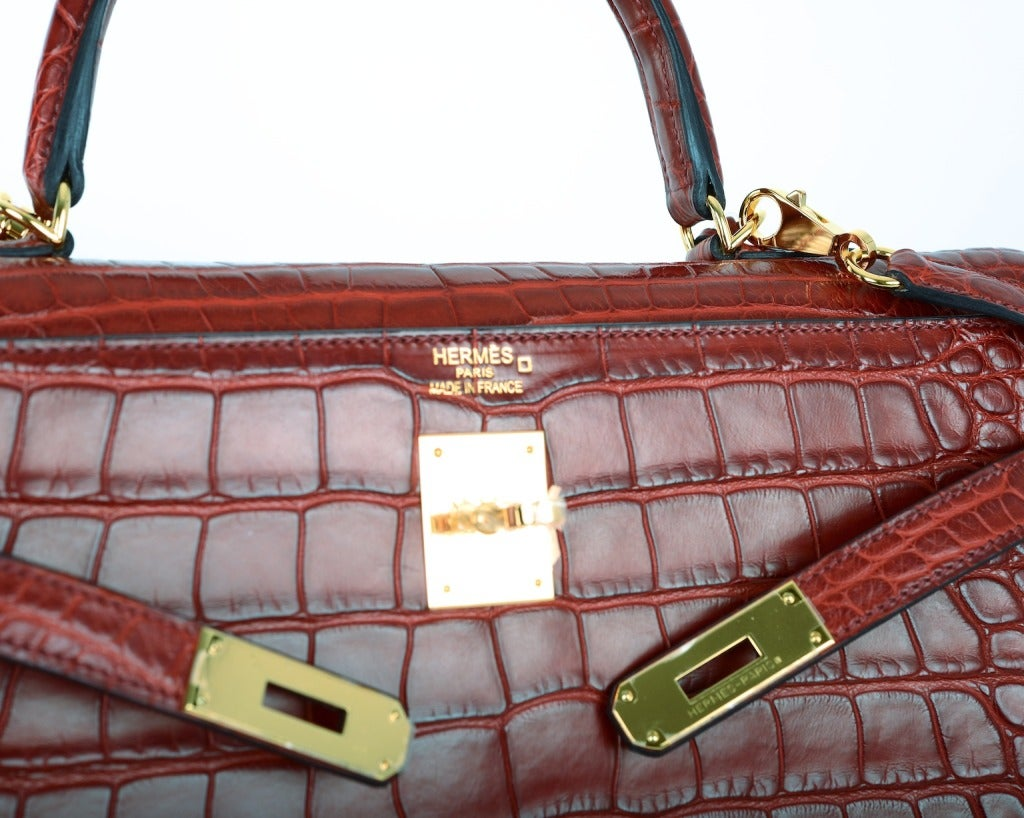 croc kelly bag hermes - HERMES KELLY BAG 35cm ROUGE H MATTE ALLIGATOR JaneFinds at 1stdibs