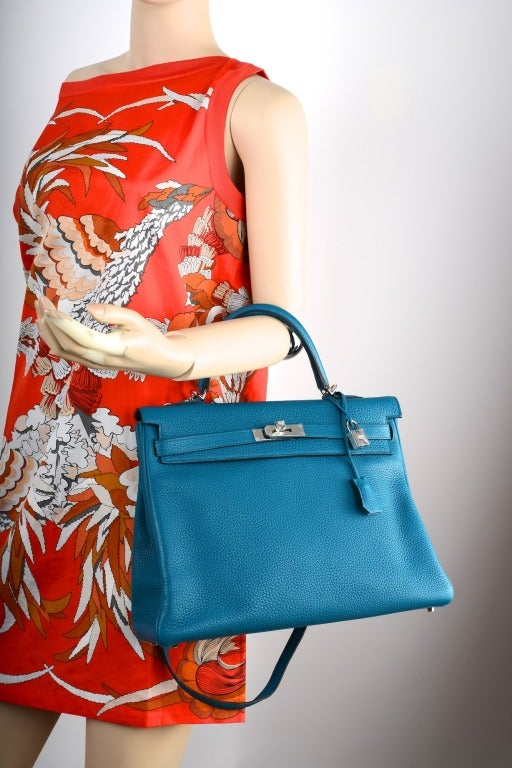 New Color Hermes Kelly Bag 35Cm Izmir Blue Clemence Leather at 1stdibs