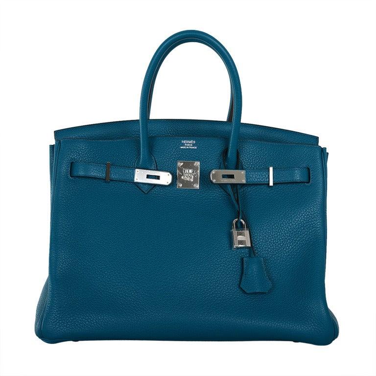 birkin replica handbags - Gorgeous New Color Hermes Birkin Bag 35Cm Izmir Blue Clemence ...