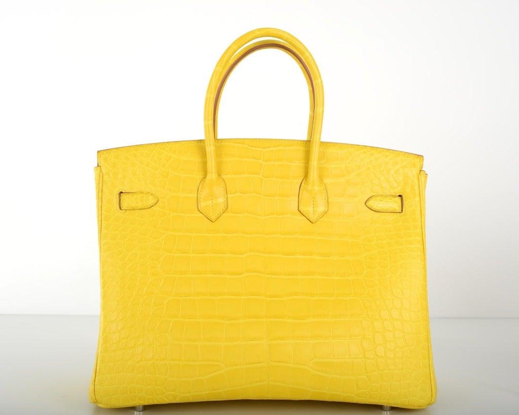 Ridiculous Hermes Birkin Bag 35cm Yellow Mimosa Matte Croc ...