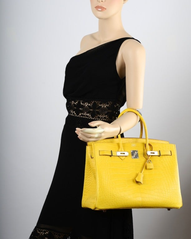 Ridiculous Hermes Birkin Bag 35cm Yellow Mimosa Matte Croc ...