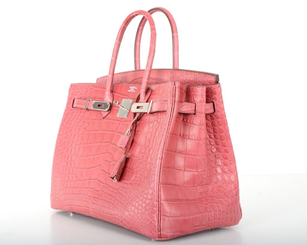 birkin bag look alike - New Color Pink Hermes Birkin Bag 35cm Crocodile Matte Bois De Rose ...