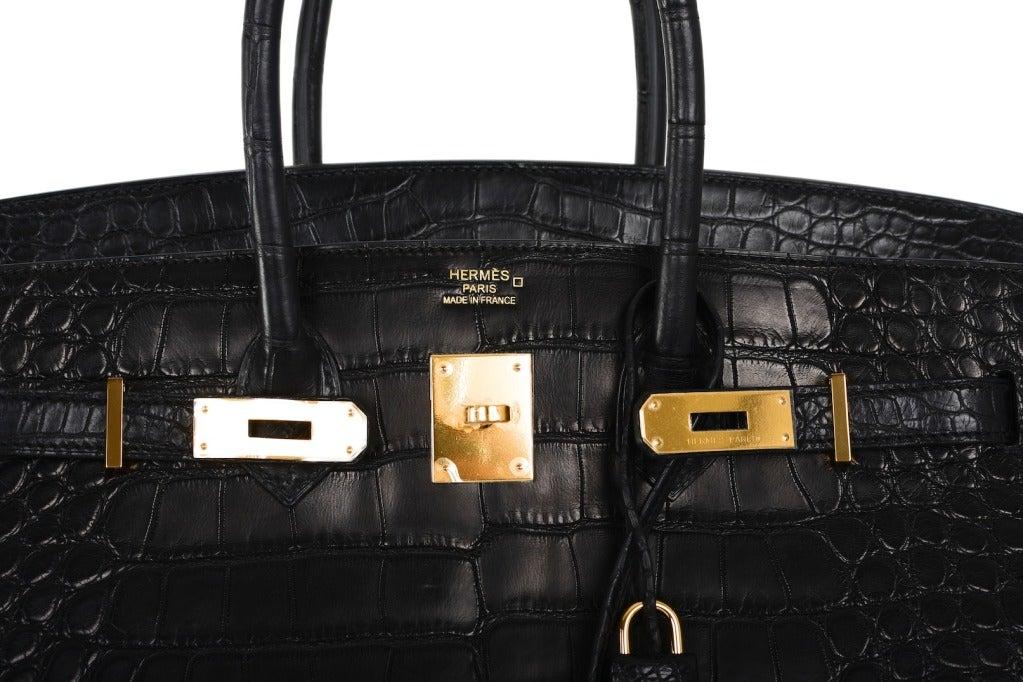 kelly wallet hermes - Hermes Birkin Bag 35cm Black Matte Alligator Gold Hardware! Heads ...
