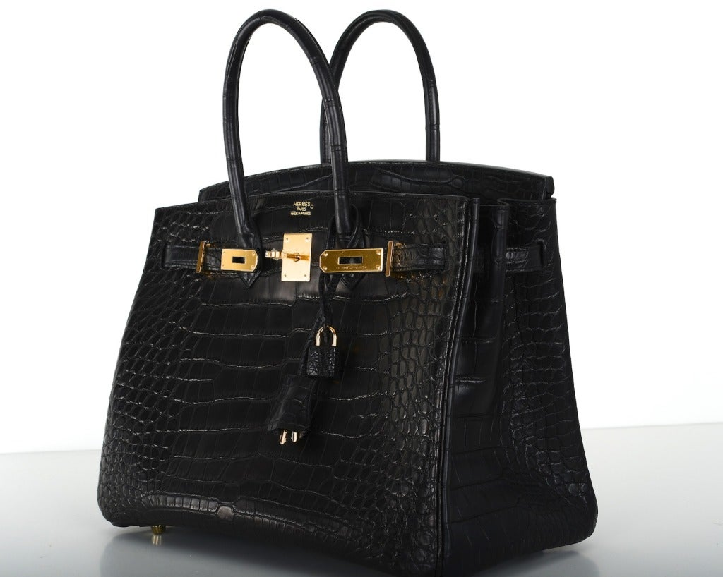 discount hermes birkin bags - Hermes Birkin Bag 35cm Black Matte Alligator Gold Hardware! Heads ...