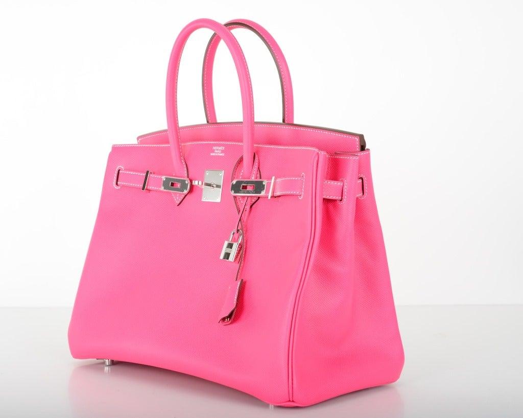 Hermes Birkin Bag 35cm Rose Tyrien Epsom Leather Palladium at 1stdibs