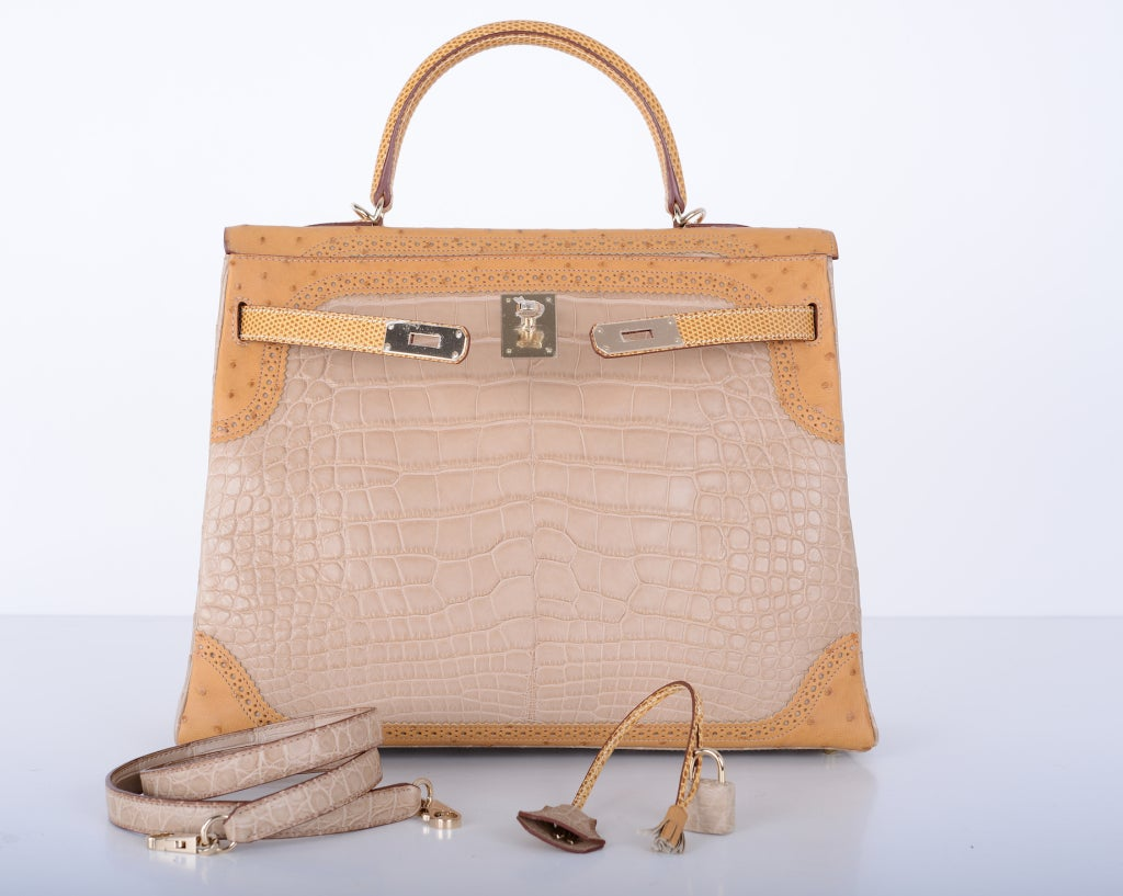 Limited Edition Hermes Kelly 35cm Tri Exotic Grand Marriage Alligator GHW image 2