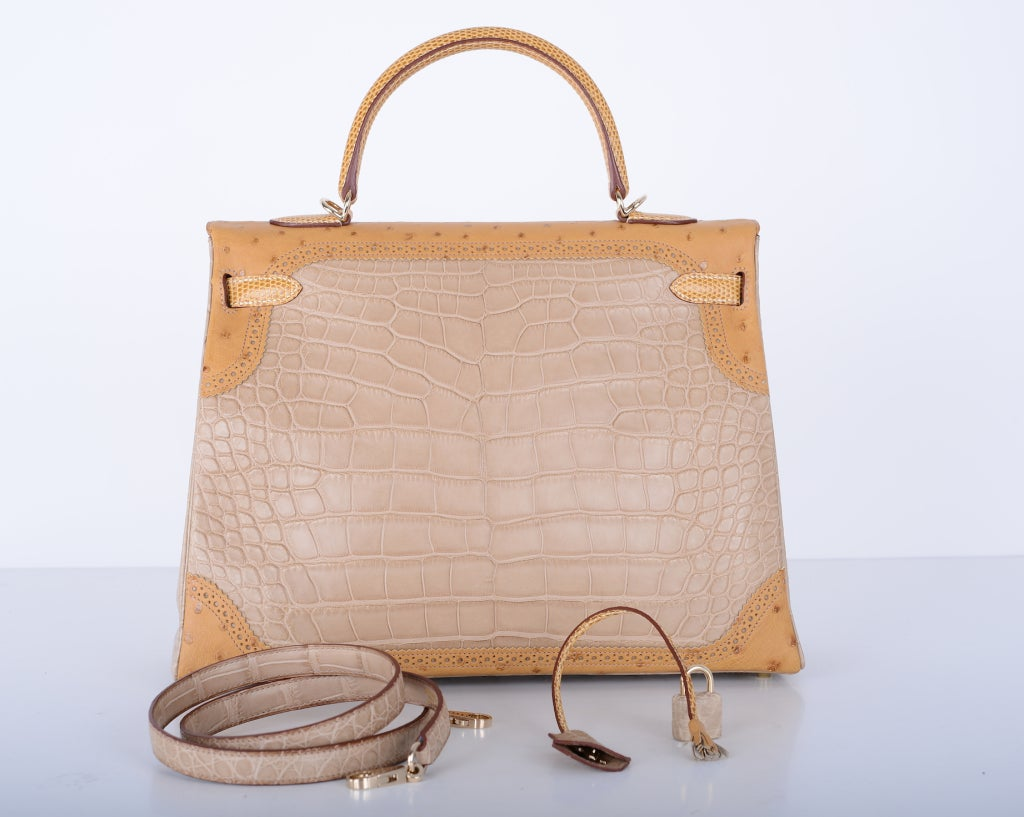 Limited Edition Hermes Kelly 35cm Tri Exotic Grand Marriage Alligator GHW image 4