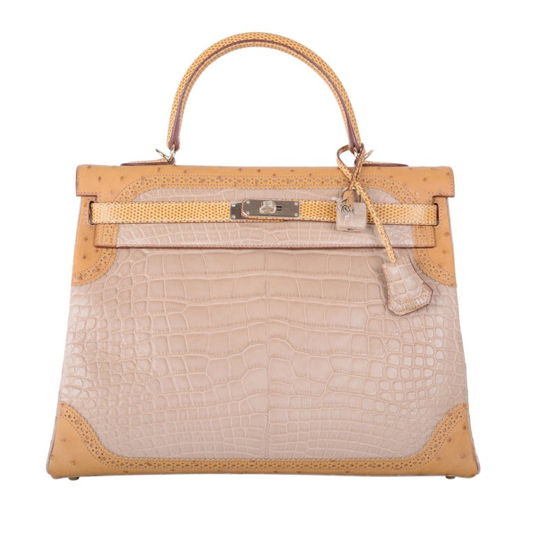 Limited Edition Hermes Kelly 35cm Tri Exotic Grand Marriage Alligator GHW