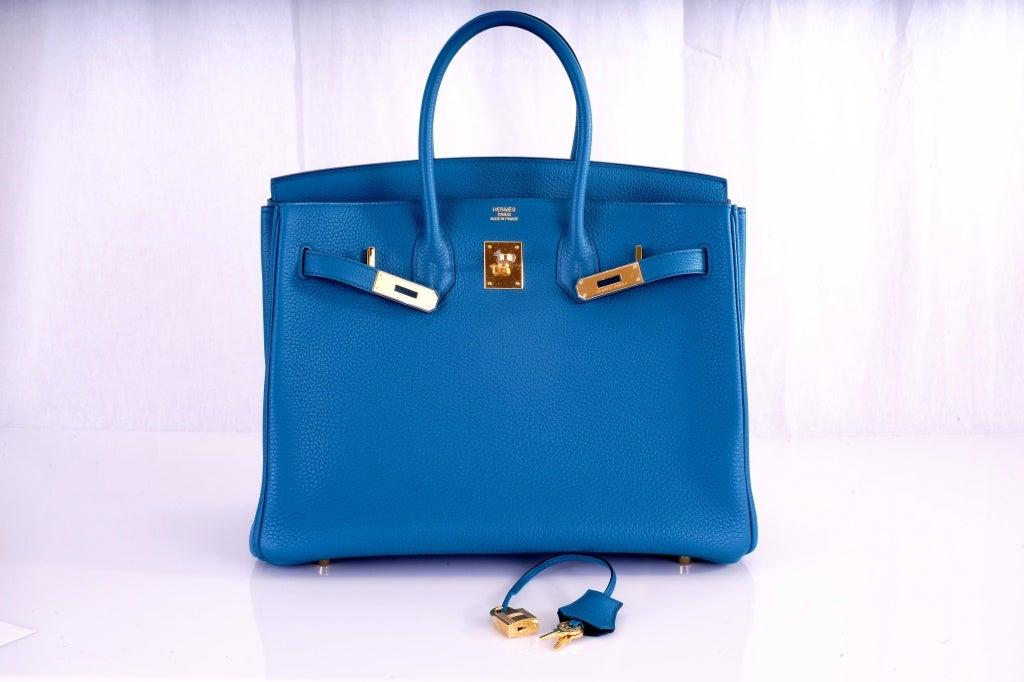 NEW COLOR HERMES 35CM BIRKIN BAG COBALT BLUE W GOLD HARDWARE 10
