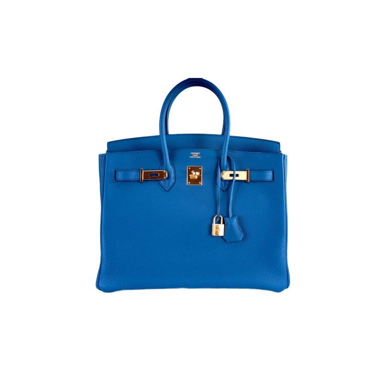 NEW COLOR HERMES 35CM BIRKIN BAG COBALT BLUE W GOLD HARDWARE 1