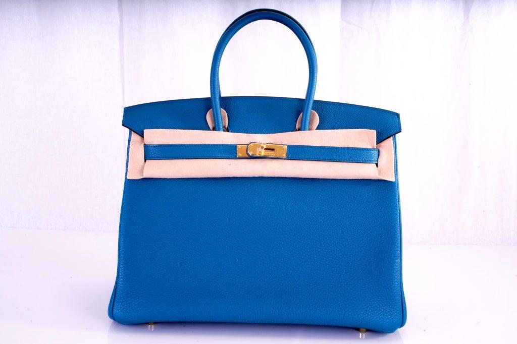 NEW COLOR HERMES 35CM BIRKIN BAG COBALT BLUE W GOLD HARDWARE 2