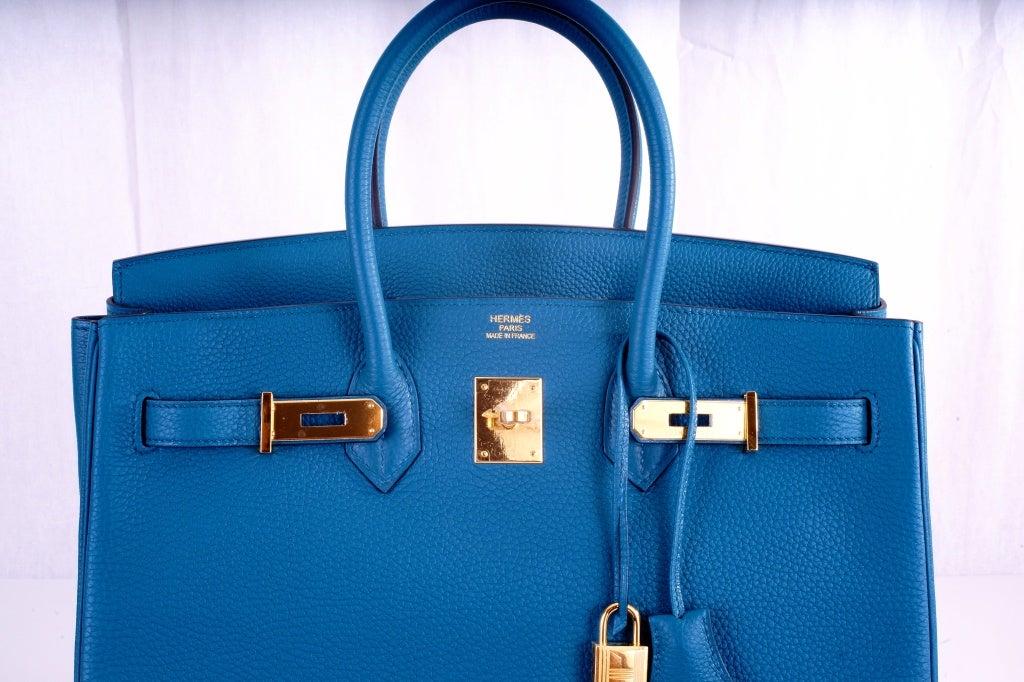 NEW COLOR HERMES 35CM BIRKIN BAG COBALT BLUE W GOLD HARDWARE 3
