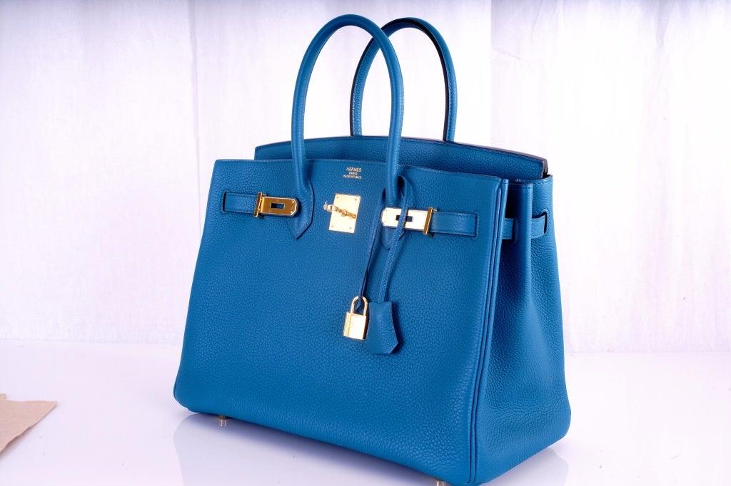 NEW COLOR HERMES 35CM BIRKIN BAG COBALT BLUE W GOLD HARDWARE 4