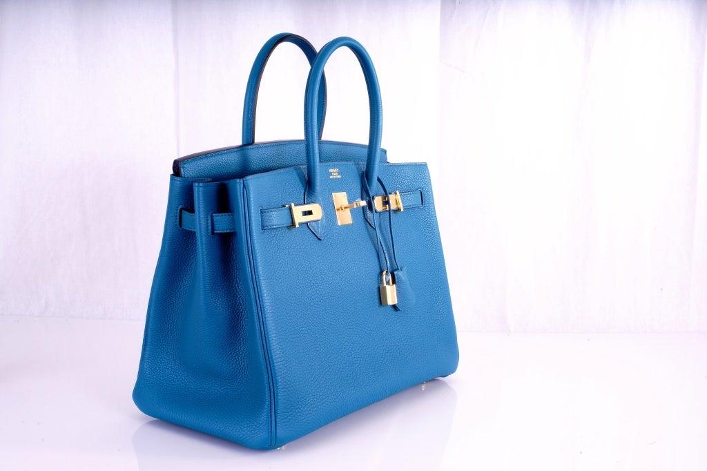 NEW COLOR HERMES 35CM BIRKIN BAG COBALT BLUE W GOLD HARDWARE 5
