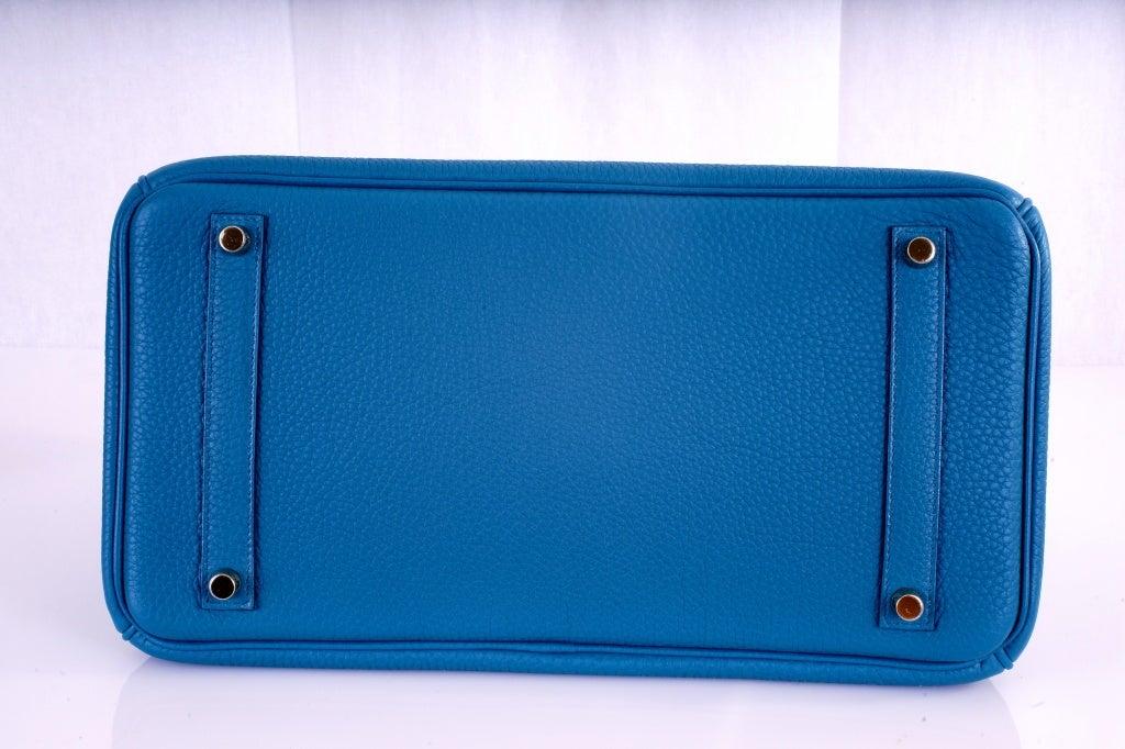 NEW COLOR HERMES 35CM BIRKIN BAG COBALT BLUE W GOLD HARDWARE 6