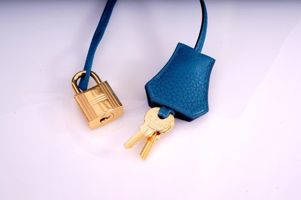 NEW COLOR HERMES 35CM BIRKIN BAG COBALT BLUE W GOLD HARDWARE 7