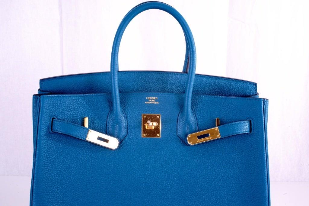 NEW COLOR HERMES 35CM BIRKIN BAG COBALT BLUE W GOLD HARDWARE 8