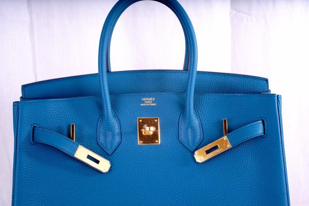 NEW COLOR HERMES 35CM BIRKIN BAG COBALT BLUE W GOLD HARDWARE 9