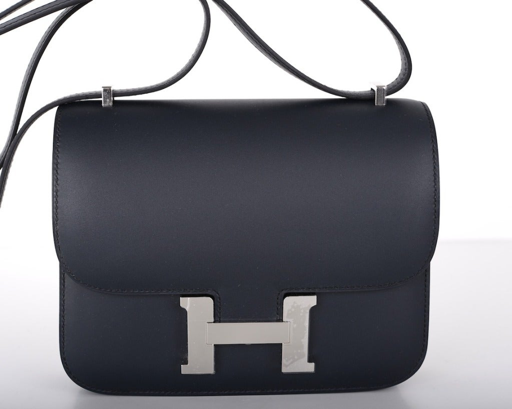 Love Hermes Constance Bag ~ 18cm ~ Blue Obscure Sombrero Leather ...