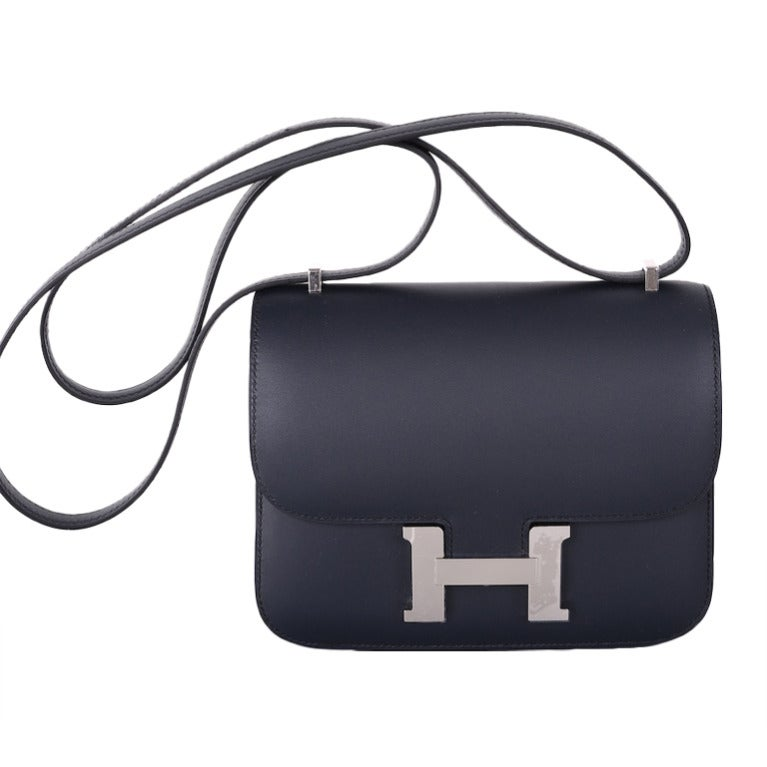 Love Hermes Constance Bag ~ 18cm ~ Blue Obscure Sombrero Leather ...