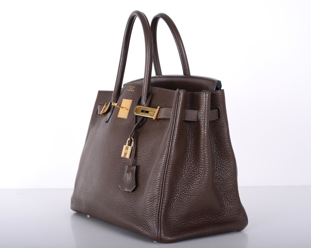 Love This Forever Hermes Birkin Bag Chocolate 35cm W Gold Hardware image 4
