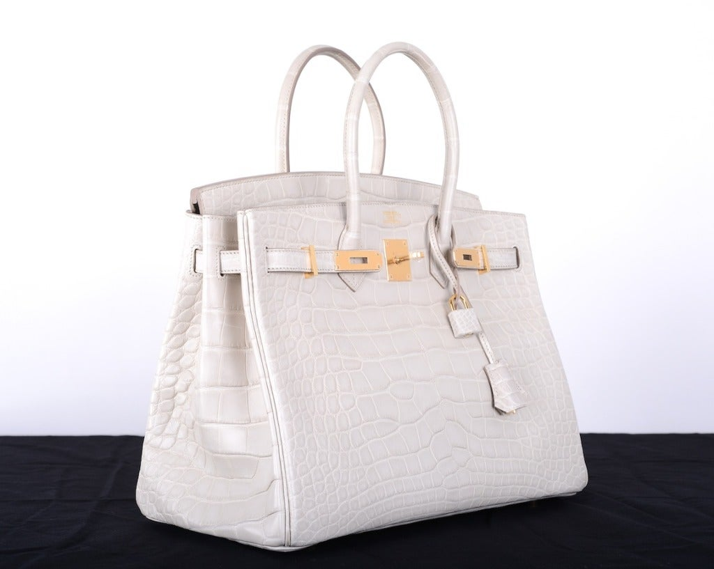hermes beton matte porosus crocodile birkin bag with gold hardware