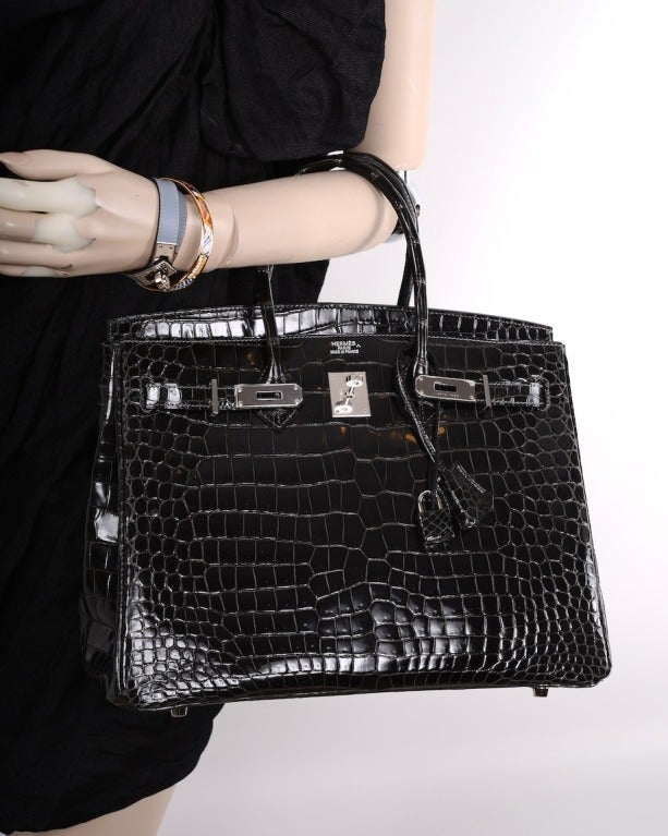 inexpensive hermes purse - SEXIEST HERMES BIRKIN BAG 35cm CROCODILE GRAPHITE SHINY POROSUS ...