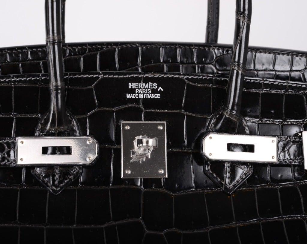 SEXIEST HERMES BIRKIN BAG 35cm CROCODILE GRAPHITE SHINY POROSUS ...