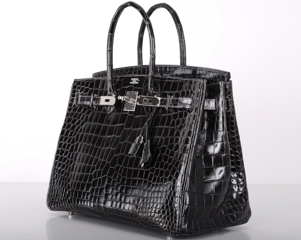 birkin inspired handbags - SEXIEST HERMES BIRKIN BAG 35cm CROCODILE GRAPHITE SHINY POROSUS ...