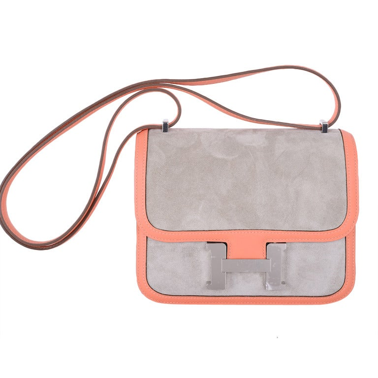 HERMES CONSTANCE BAG 18cm DOUBLE GUSSET GLORIOUS SUEDE WITH MANGUE ...