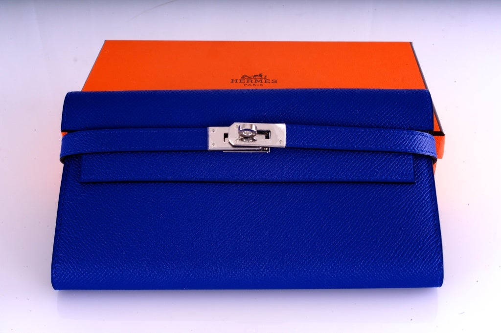 NEW HERMES KELLY LONG WALLET / CLUTCH BLUE ELECTRIC EPSOM LEATHE image 2