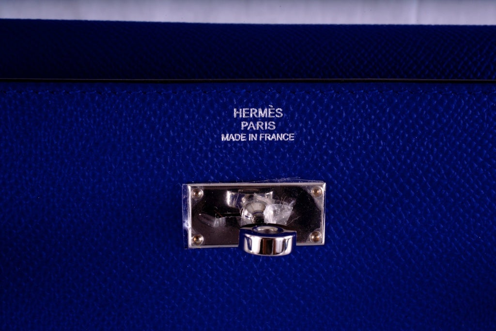 NEW HERMES KELLY LONG WALLET / CLUTCH BLUE ELECTRIC EPSOM LEATHE image 3