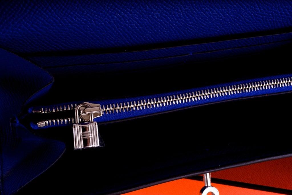 NEW HERMES KELLY LONG WALLET / CLUTCH BLUE ELECTRIC EPSOM LEATHE image 8