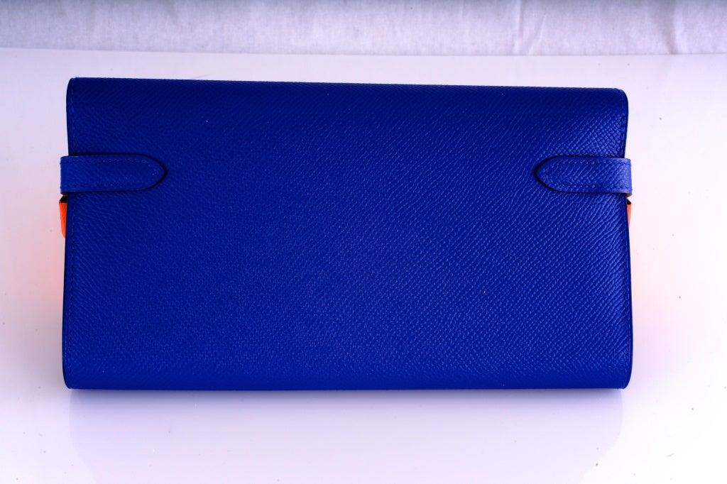 NEW HERMES KELLY LONG WALLET / CLUTCH BLUE ELECTRIC EPSOM LEATHE image 10