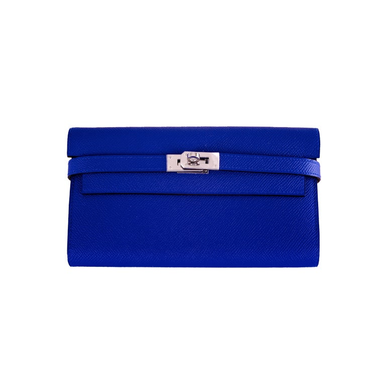 NEW HERMES KELLY LONG WALLET / CLUTCH BLUE ELECTRIC EPSOM LEATHE