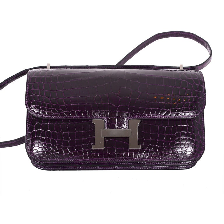 Stunning Bag Hermes Constance Elan Crocodile Amethyst Palladium at ...