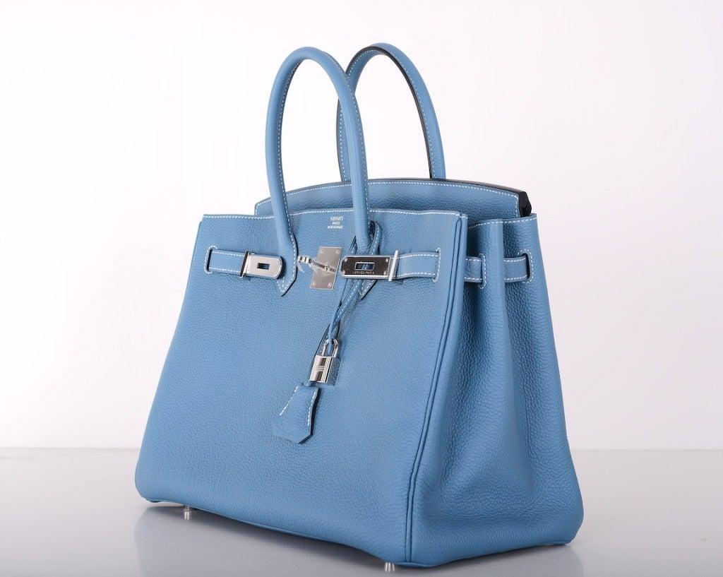 hermes 35cm electric blue birkin bag with palladium hardware