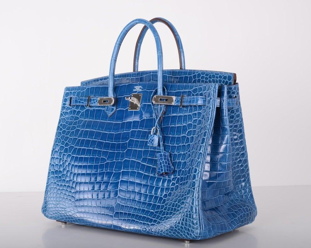 WOWZA! HERMES BIRKIN BAG 40cm CROCODILE MYKONOS BLUE POROSUS at ...