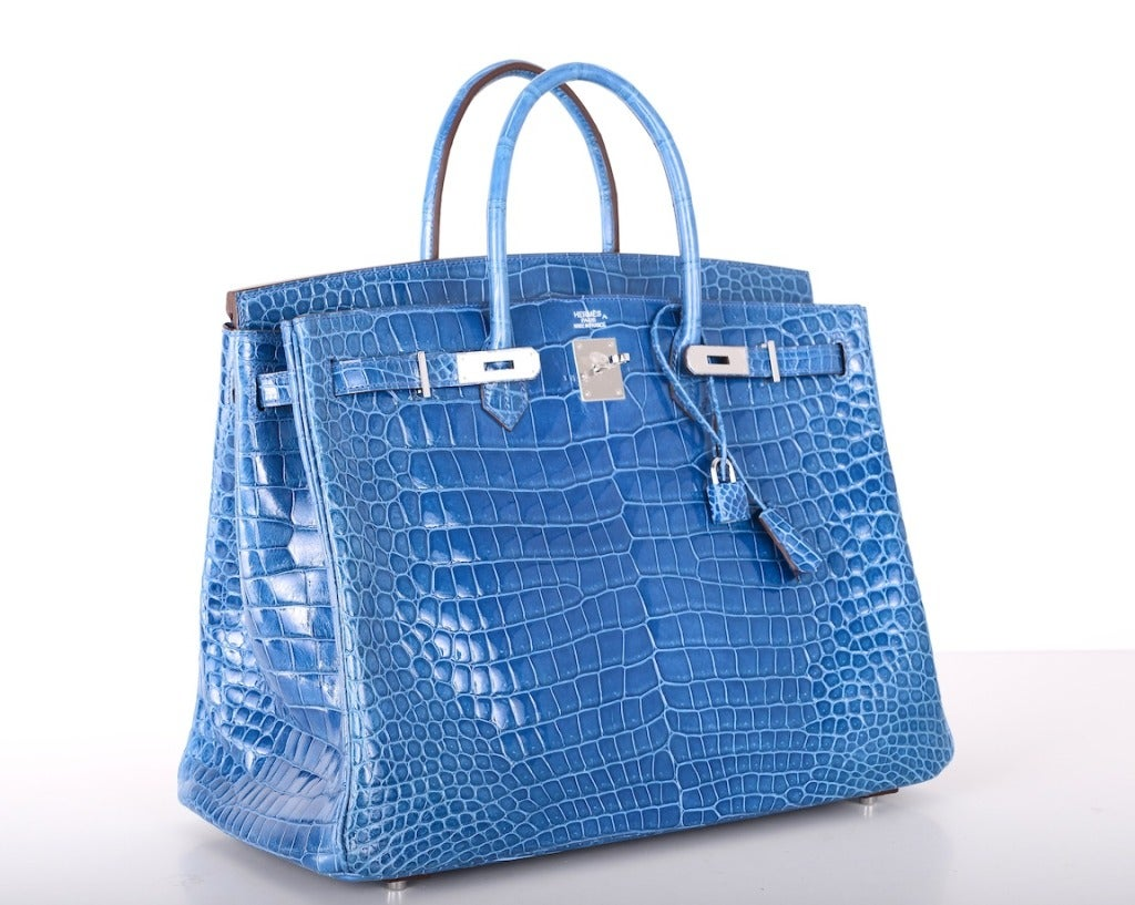WOWZA! HERMES BIRKIN BAG 40cm CROCODILE MYKONOS BLUE POROSUS at ...