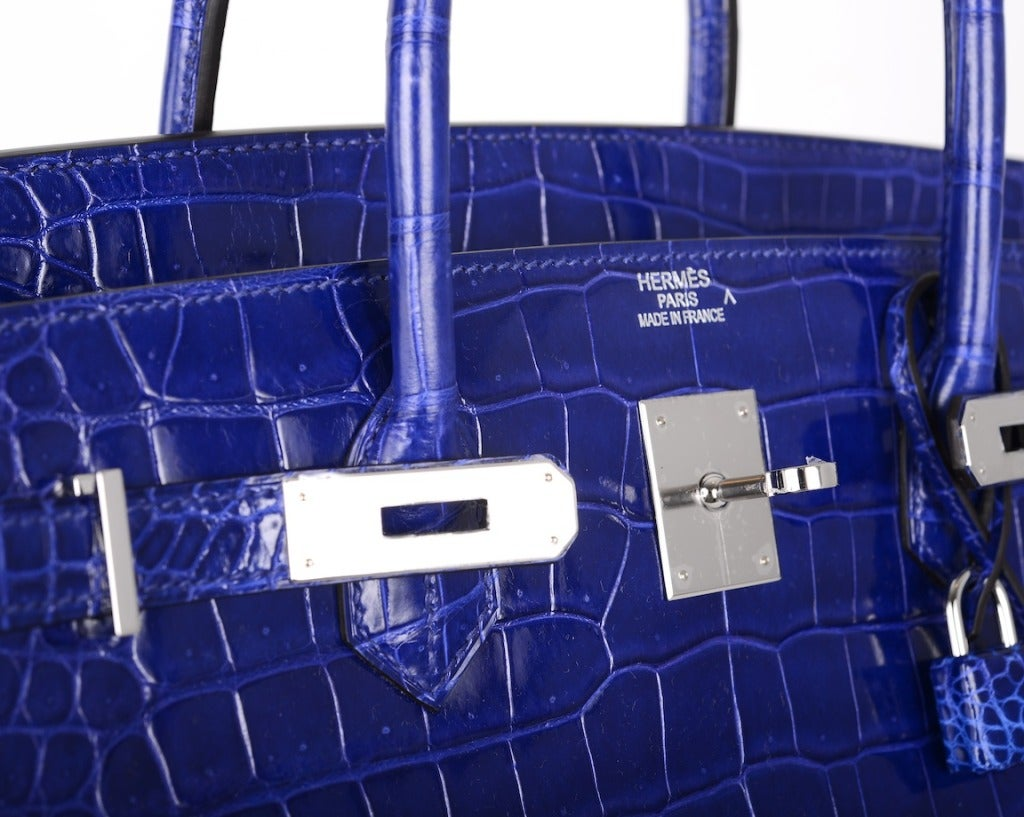HERMES BIRKIN BAG 40cm BLUE ELECTRIC * BLEU ELECTRIQUE CROCODILE ...