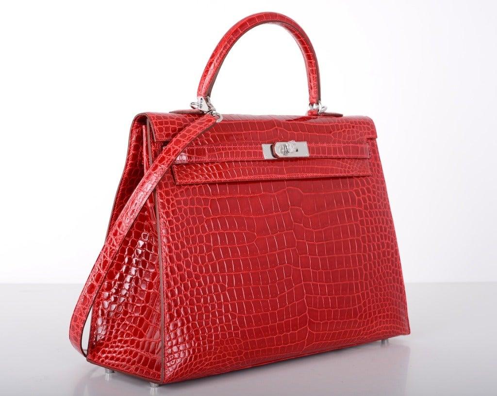 long purse - HERMES KELLY BAG 35cm BRAISE * HOT FERRARI RED CROCODILE POROSUS ...