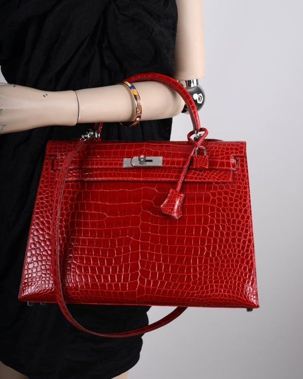 hermes birkin bag prices - HERMES KELLY BAG 35cm BRAISE * HOT FERRARI RED CROCODILE POROSUS ...