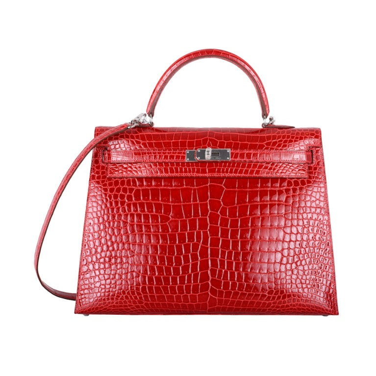 birkin style leather handbag - HERMES KELLY BAG 35cm BRAISE * HOT FERRARI RED CROCODILE POROSUS ...