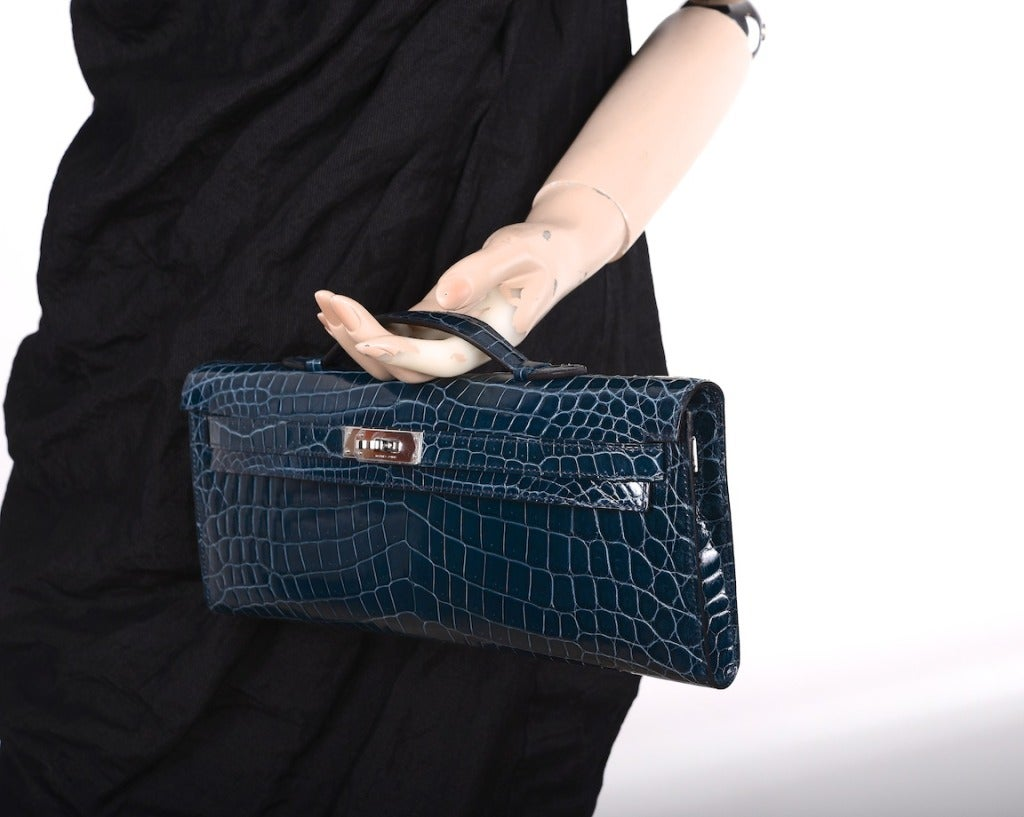 hermes kelly wallet - HERMES KELLY Blue Tempete Crocodile Bag KELLY CUT CLUTCH POCHETTE ...