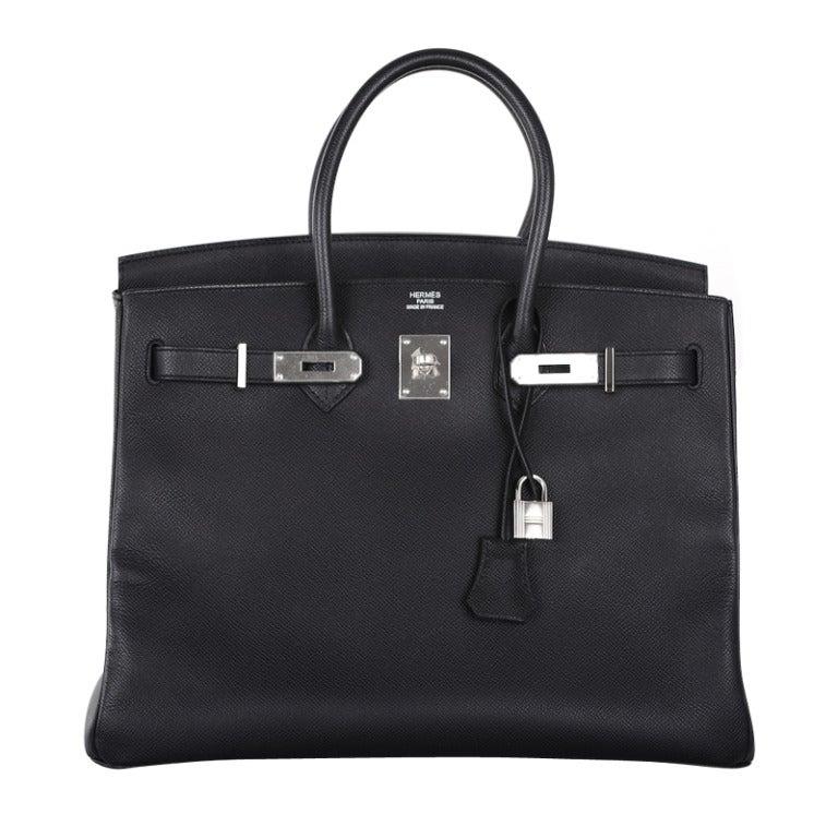 AMAZING COMBO! Hermes Birkin Bag BLACK 35CM EPSOM LEATHER PHW For ...