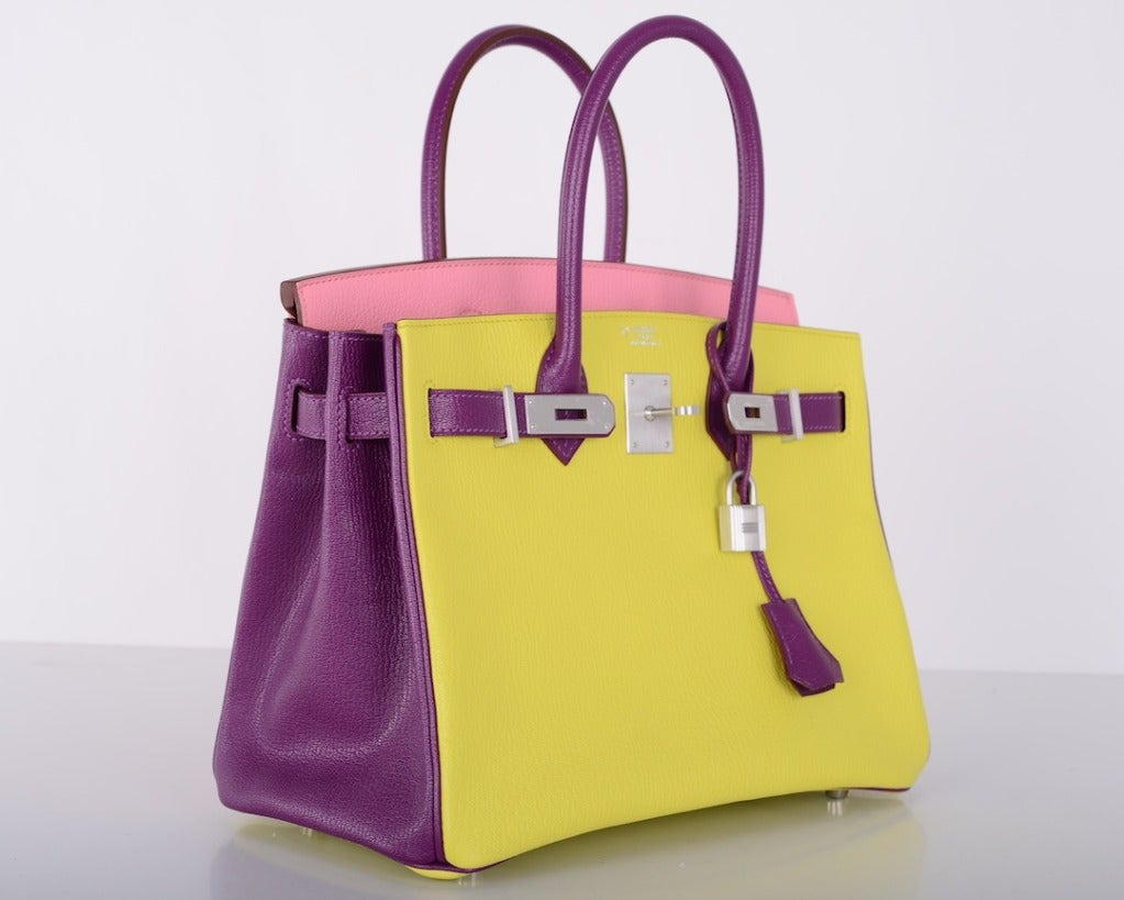hermes handbags for sale - Hermes Birkin BAG Tri Color HSS 3OCM PINK ULTRA VIOLET SOUFRE ...