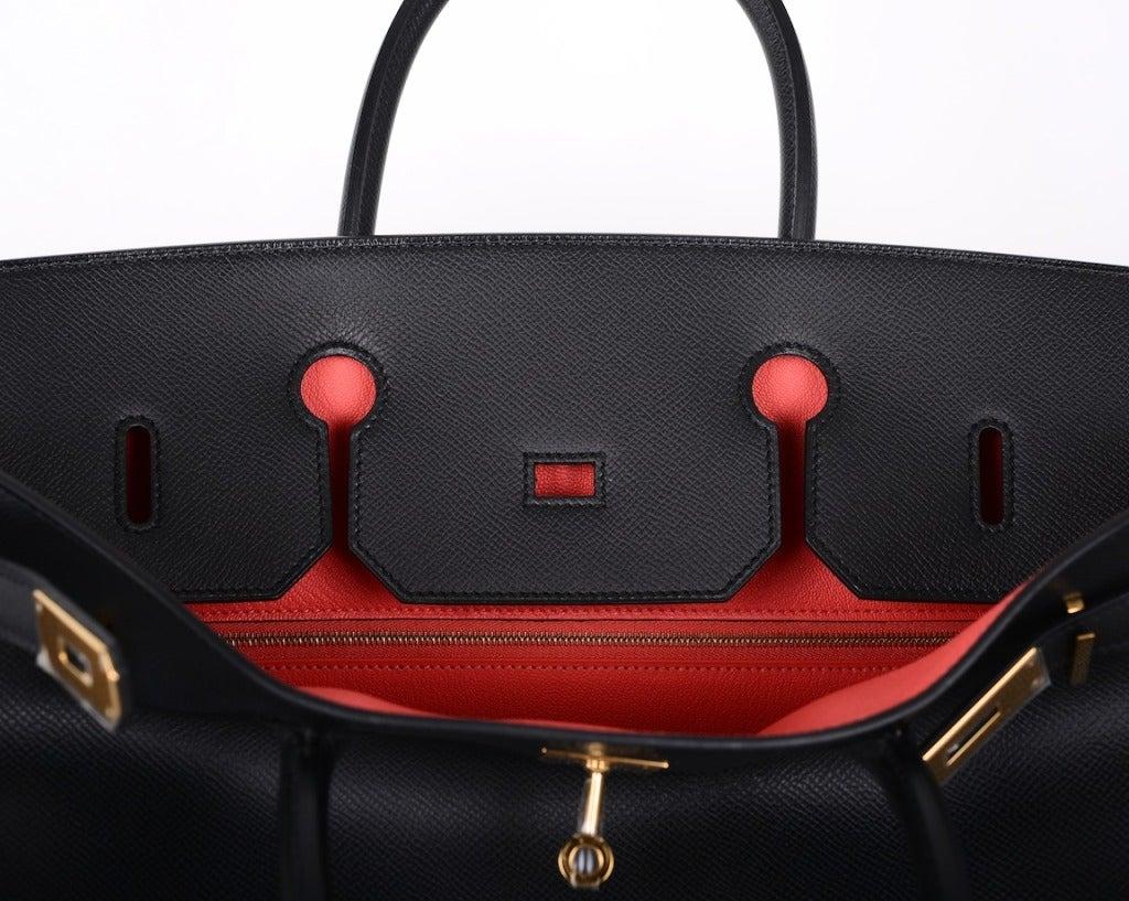 hermes messenger bags - Hermes Special Order 40cm Black Epsom Leather with Rose Jaipur ...