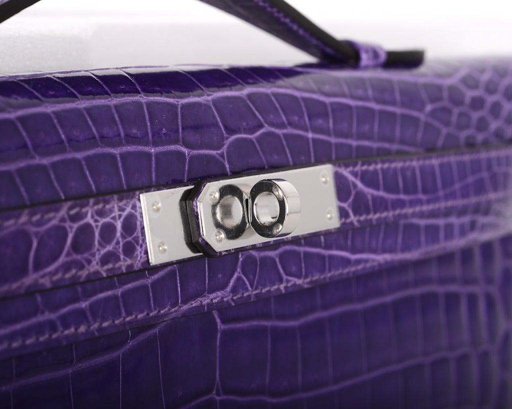 hermes purple leather clutch bag kelly